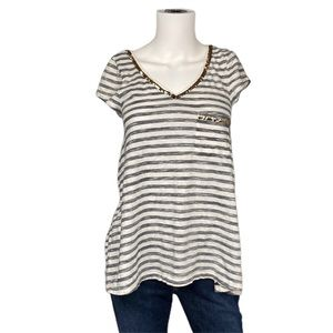 Andrew Charles Blue White Striped Sequined Shirt